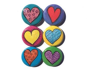 Heart Magnets or Heart Pins - Love Fridge Magnet Set - Pinback Button Set - Cute Party Favor, Teacher Gift, Stocking Stuffer, Gift Under 10