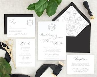 Calligraphy Wedding Invitations - Simple Wedding Invitation Set