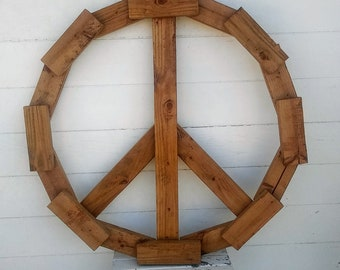 """42"""" Peace sign made out of reclaimed wood (pecan) *PICK-UP ONLY"""