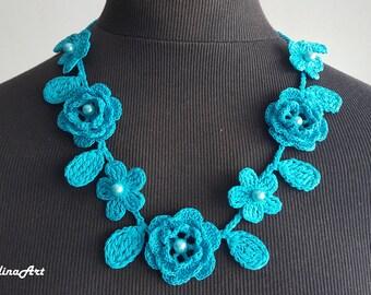 Crochet Rose Necklace,Crochet Neck Accessory, Flower Necklace, Aquamarine Color, 100% Cotton.