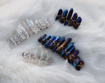 Angel Aura Crystal Barrette, Crystal Crown Hair Clip, Rainbow Quartz Hair Accessories