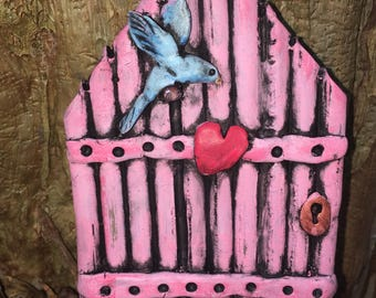 Ooak Pink Bluebird Loveheart terrarium Fairy Door indoor outdoor