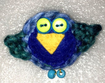 Bird Felted Brooch Merino Wool, Hand Embroidered 60mm