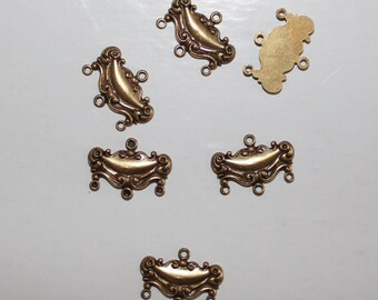 12 Vintage antiqued raw brass art nouveau chandelier connector charms or earring drops