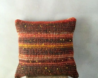 Knit Pillow Cover striped cushion pillow lumbar pillow bohemian pillow brown knit couch pillow burnt orange wool throw sequined pillow case