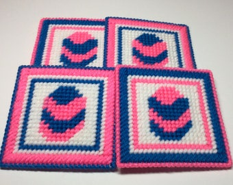 Pink and Blue Easter Egg Plastic Canvas Coasters - Set of 4