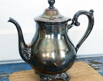 Vintage Silverplate Wm Rogers & Son Victorian Rose 1902 Footed Teapot