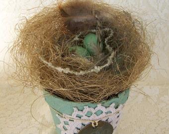 Altered Peat Pot Spring Decor Birds Nest Natural Bird Nest Vintage Bird Art Vintage Bird Decor  Vintage Aqua Decor Vintage Lace QueenBe
