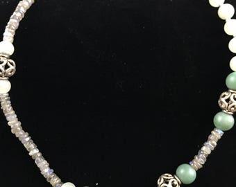 Aventurine, Labradorite and Sterling Necklace
