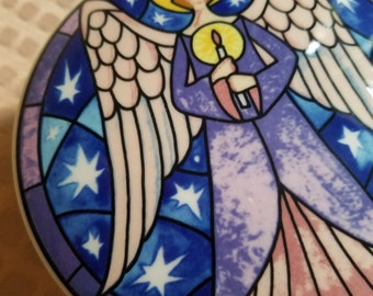 Mikasa porcelain stained glass angel round covered trinket jewelry box spiritual Christmas star candle