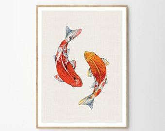 Fish Wall Art, Koi Art Print, Printable Wall Art, Watercolor, Minimalist,
