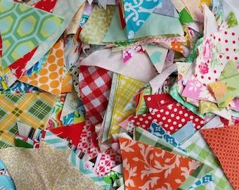 Lot 3 Quilting Scraps, Medium Flat Rate Box stuffed with cotton designer fabrics triangles
