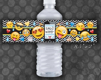 EMOJI Birthday Party Water Bottle Labels / Instant Download  / Digital File / Printable
