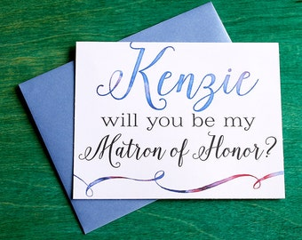 Will you be my Matron of Honor? Greeting Card Note Card - Maid of Honor, Matron of Honor, Bridesmaid Ask Card with Metallic Envelope