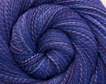 Handspun Yarn DK weight - JEALOUSY - Hand Dyed 85/15 Polwarth/Tussah silk, 316 yards, purple hand spun yarn, gift for knitter, weft yarn
