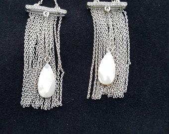 Very Long Sterling Silver Chain Earrings, with Mother of Pearl faceted Stones