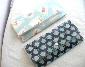 Slim Wallet, Teacup and Teapot Pattern, Womens Wallet, Snap Closure, Handmade, Wallet Women