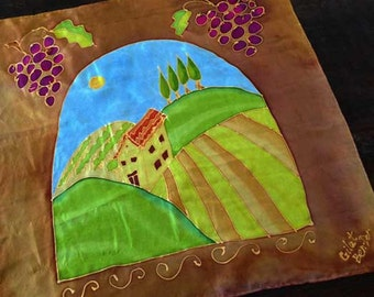 "Mothers Day Gift Present, Tuscan Italian Wine Country Scene w Grapes, Arch, Hand-Painted Square Silk Scarf: ""Tuscan Hills"" 21.5""x21.5"""