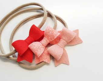 Baby bows, Handmade Mini Bows, set of 3, Baby headbands, nylon fits all, Blush Coral