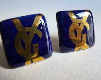 YSL Yves Saint Laurent Blue Ceramic earrings