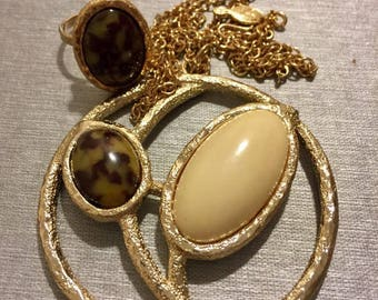 Vintage Sarah Coventry/ Desert Flower costume Ring and Necklace Set/ Faux jasper cabochon/ Adjustable