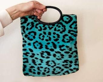 Blue Leopard Print Handbag, Faux Fur Purse, Jungle Animal Print Fabric, Tribal Tote Bag, Vintage 1970s, Aqua Blue, Black, Chic Accessory