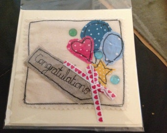 Free motion embroidery congratulations card