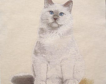 Coupon fabric Panel tapestry cat white with blue eyes