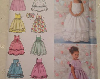 Simplicity 3943 Children's /Girls Dress Pattern ages 5,6,7,8 years size BB ideal for flower girl occasion or party.