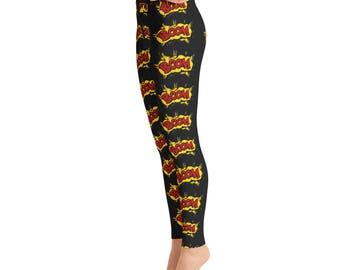 Black Boom Yoga Leggings, Capri Yoga Pants, Sport Stretch Leggings, Fitness Workout Yoga Pants Joggers Active,Solid Colors Leggings