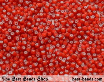 25g (2200pcs) White Lined Red Rocaille 10/0 (2.3mm) Preciosa Czech Glass Seed Beads