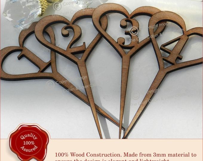 Wedding Table Numbers, Wooden Heart Design, Vintage Rustic Weddings Upto 1-14