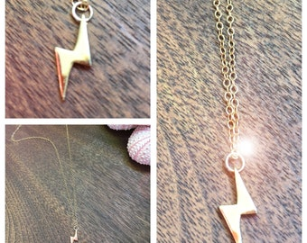 "David Bowie Lightning Bolt necklace. Short in Length. Smooth Gold Vermeil. 1/2"" bolt smooth texture."