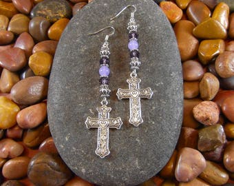 Violet Jade Cross Earrings - Cross Earrings, Cross Jewelry, Religious Jewelry, Religious Earrings, Cross, Christian Jewelry, Christian