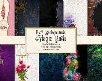 Magic Birds Invitation Backgrounds, 5x7 digital paper, invitations, vintage floral birdcage printable journal pages instant download