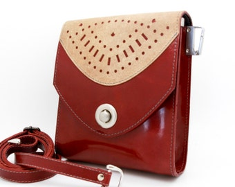 Red patent leather purse, small red crossbody bag - the Minnie
