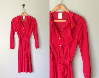 Vintage RUFFLE Dress •1970s Clothing • Button Up Shirt Dress Ruffled Long Sleeve Knee Length Skirt Cranberry Red •Women Size Small Medium