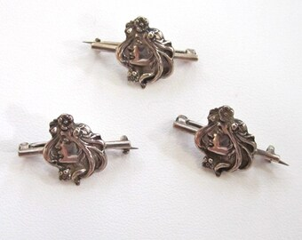 Art Nouveau Sterling Silver Set of Matching Lady Brooches/Pins
