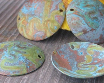 AGB artisan verdigris patina copper jewelry findings domed discs 25mm Asopus 2 pieces