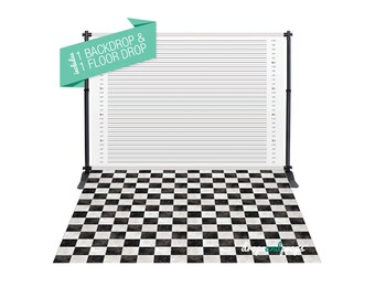 Mugshot & Checkered Floor – Photography Backdrop Combo