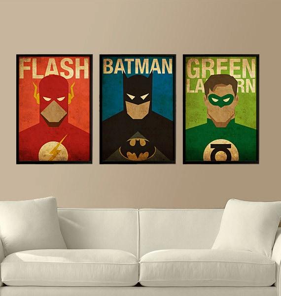Superheroes Flash Batman And Green Lantern Set Of 3 Posters