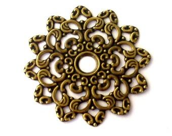 2 antiqued gold plated components, large focals, 47mm filigree flower
