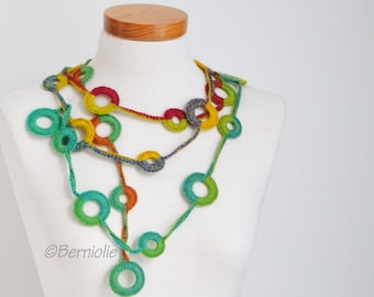 Crochet circle necklace, rainbow colors, N393