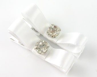 White Satin Hair Clips Rhinestone Tuxedo Bow Barrettes - Set of 2 - Matching Pair for Baby Toddler Girls Special Occasion Wedding Baptism