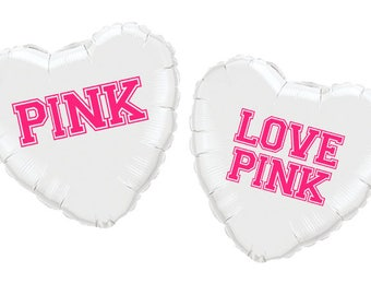 "18"" Personalized Pink, Love Pink Heart Mylar Balloons!"