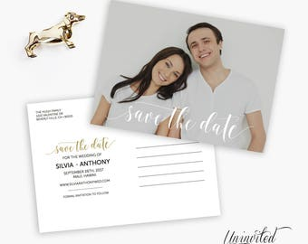 Printable Save the Date Postcard - save the dates, calligraphy