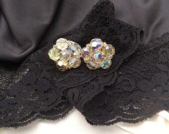 Keyes Clear Rhinestone Clip-on Earrings, Aurora Borealis Cluster Rhinestones