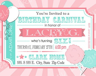 Cotton candy invite Etsy