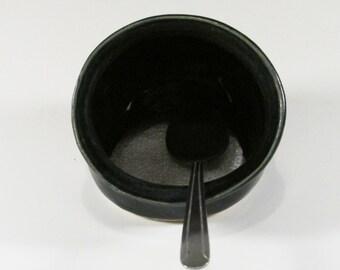 Ceramic Salt Pig, Slate Blue Jar, Stoneware Salt Cellar, Scrubby Holder, Wheel thrown pottery, Sink Caddy, Stove Caddy, Ready to Ship, SP1
