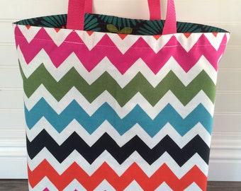 Large Tote Bag, Shopping Bag, Reusable Bag, Flower Bag with Chevron Lining